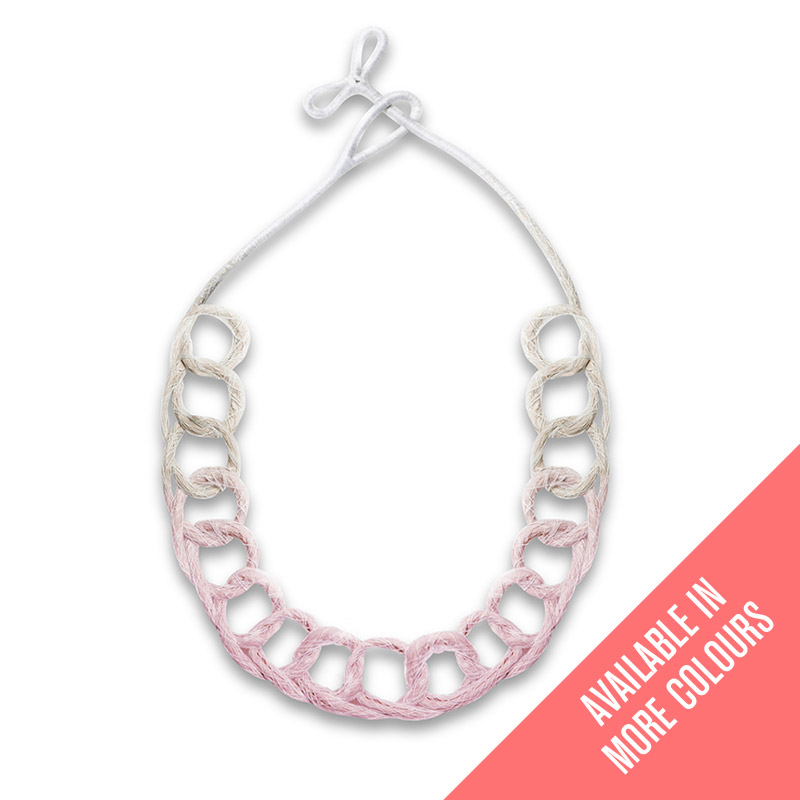Handmade Colourful Jewellery Statement Necklace Loops Pastel Pink by Saloukee Front View