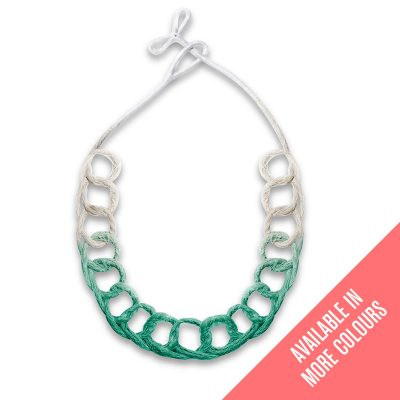 Handmade-Innovative-Jewellery-Statement-Necklace-Loops-Brights-Emerald-Green-by-Saloukee-Front-View