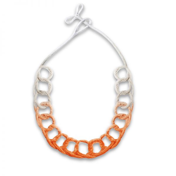 Handmade Innovative Jewellery Statement Necklace Loops Brights Rush Orange by Saloukee Front View