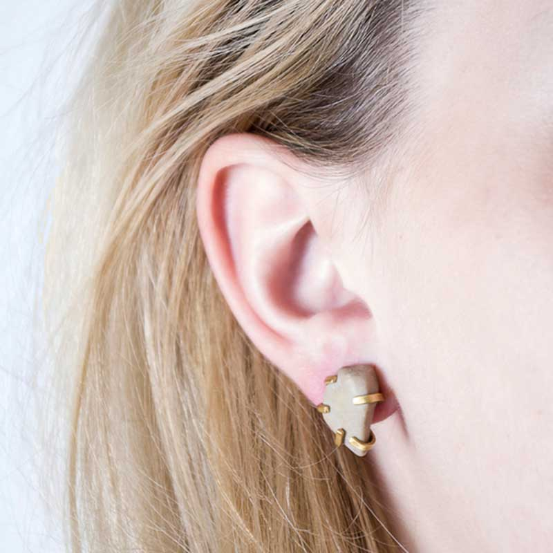 Handmade Unusual Jewellery Handcrafted Earrings Gudrun Studs Cream by Saloukee Lifestyle