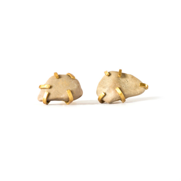 Handmade-Unusual-Jewellery-Handcrafted-Earrings-Gudrun-Studs-Cream-by-Saloukee-Top-View