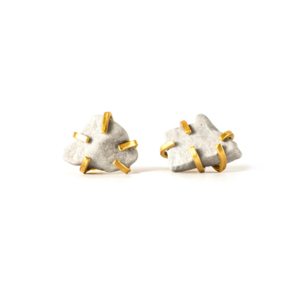 Handmade-Contemporary-Jewellery-Handcrafted-Earrings-Gudrun-Studs-White-by-Saloukee-Top-View
