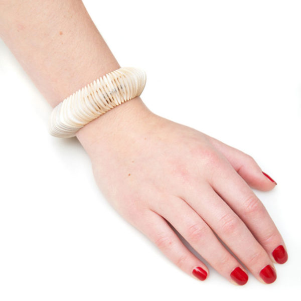 Handmade Craft Jewellery Paper Bracelet Revolution Vintage Cream by Saloukee Lifestyle
