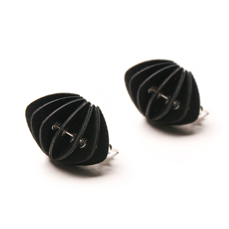 Handmade Avant Garde Jewellery Paper Earrings Disperse Pastels Ebony Black by Saloukee