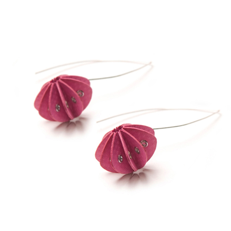 Handmade Delicate Jewellery Paper Earrings Unity Brights Fresh Pink by Saloukee Front View