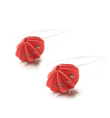 Handmade Delicate Jewellery Paper Earrings Unity Brights Fresh Red by Saloukee Front View
