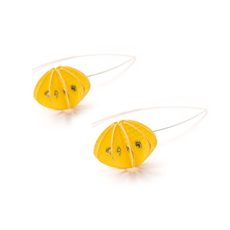 Handmade Delicate Jewellery Paper Earrings Unity Brights Fresh Yellow by Saloukee Front View