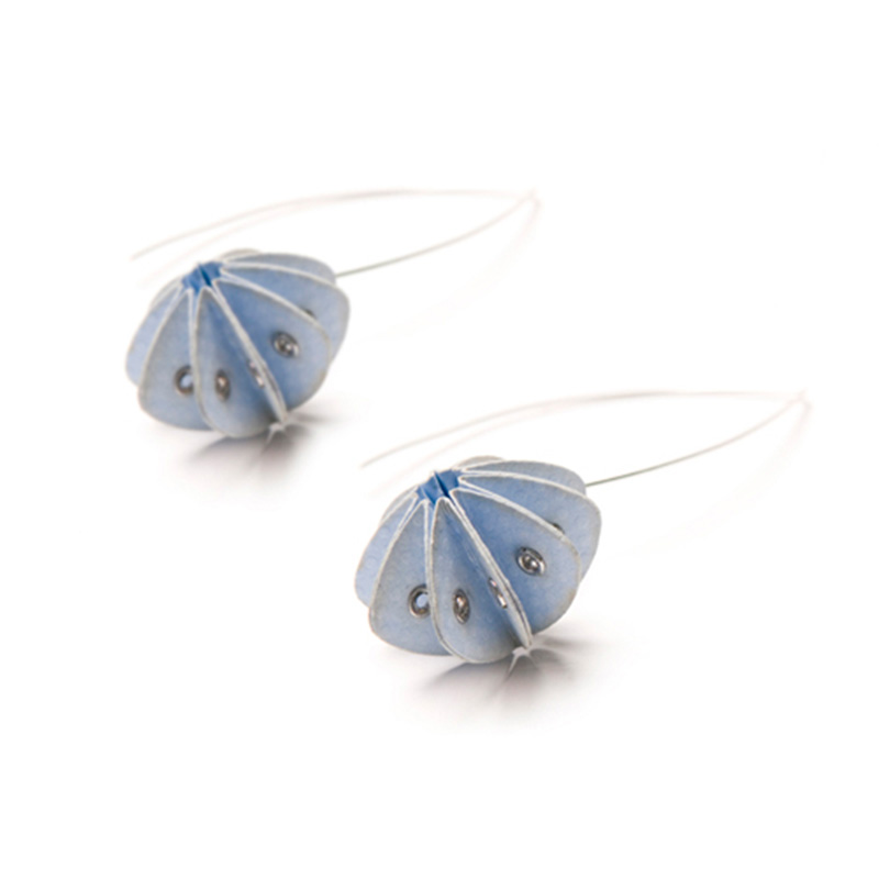 Handmade Elegant Jewellery Paper Earrings Unity Pastels Baby Blue by Saloukee Front View