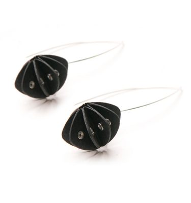Handmade Elegant Jewellery Paper Earrings Unity Pastels Ebony Black by Saloukee Front View