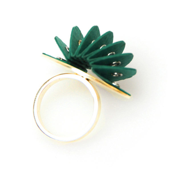 Handmade Talking Point Jewellery Paper Ring Disperse Gold Fresh Green by Saloukee