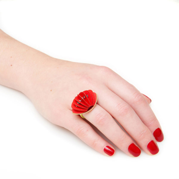 Handmade Talking Point Jewellery Paper Ring Disperse Gold Fresh Red by Saloukee