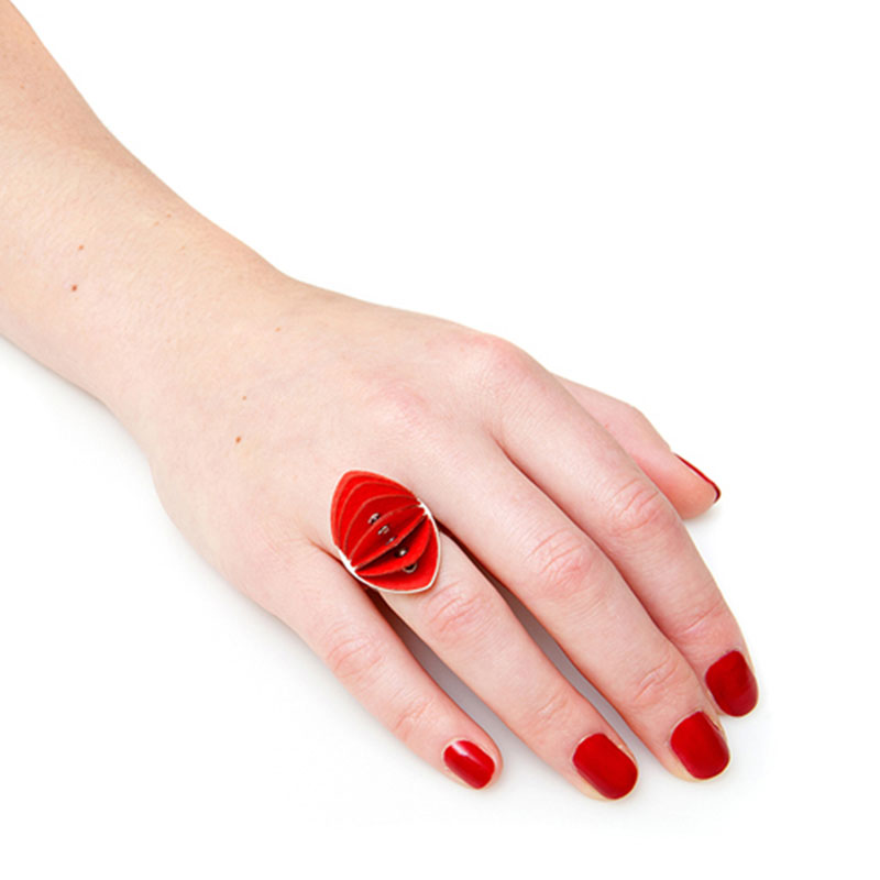 Handmade First Anniversary Jewellery Paper Ring Disperse Silver Fresh Red by Saloukee