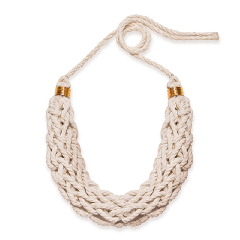 Handmade Textile Jewellery Tribal Necklace Tisa Bib by Saloukee Front View