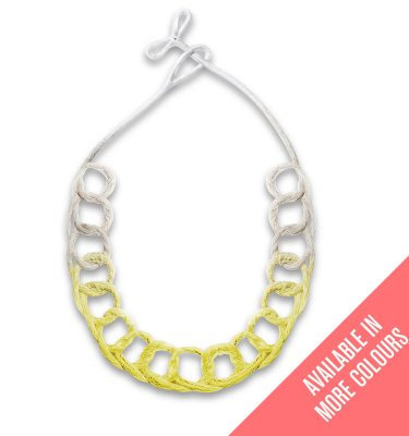 Handmade Neon Jewellery Statement Necklace Loops Neon Yellow by Saloukee Front View