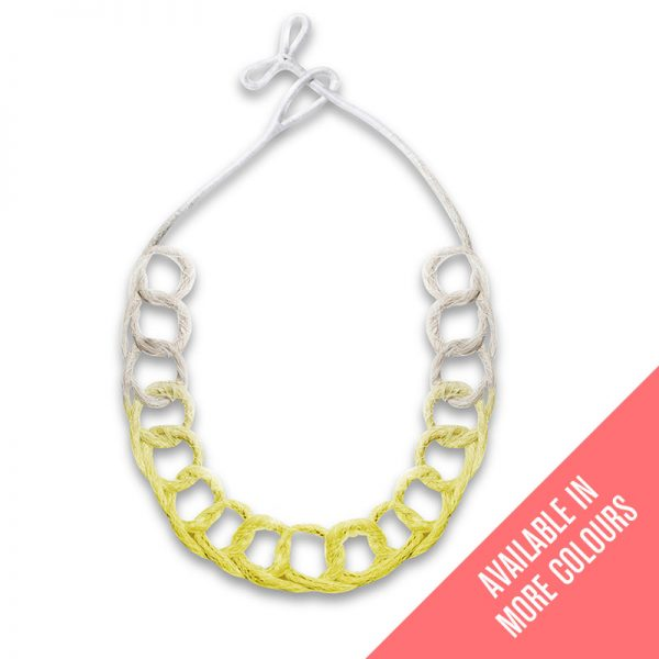 Handmade-Neon-Jewellery-Statement-Necklace-Loops-Neon-Yellow-by-Saloukee-Front-View
