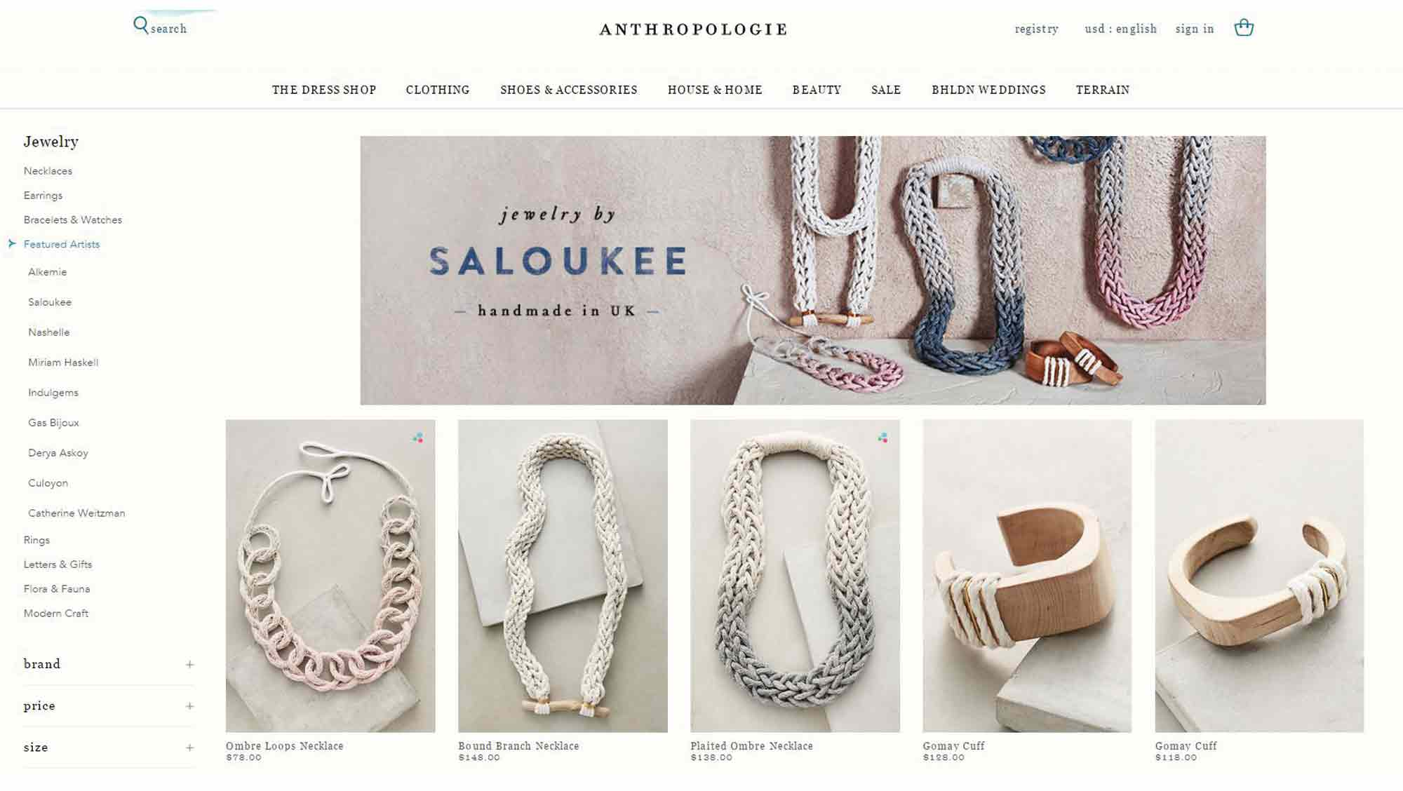 Anthropologie Accessories Saloukee Jewellery Online