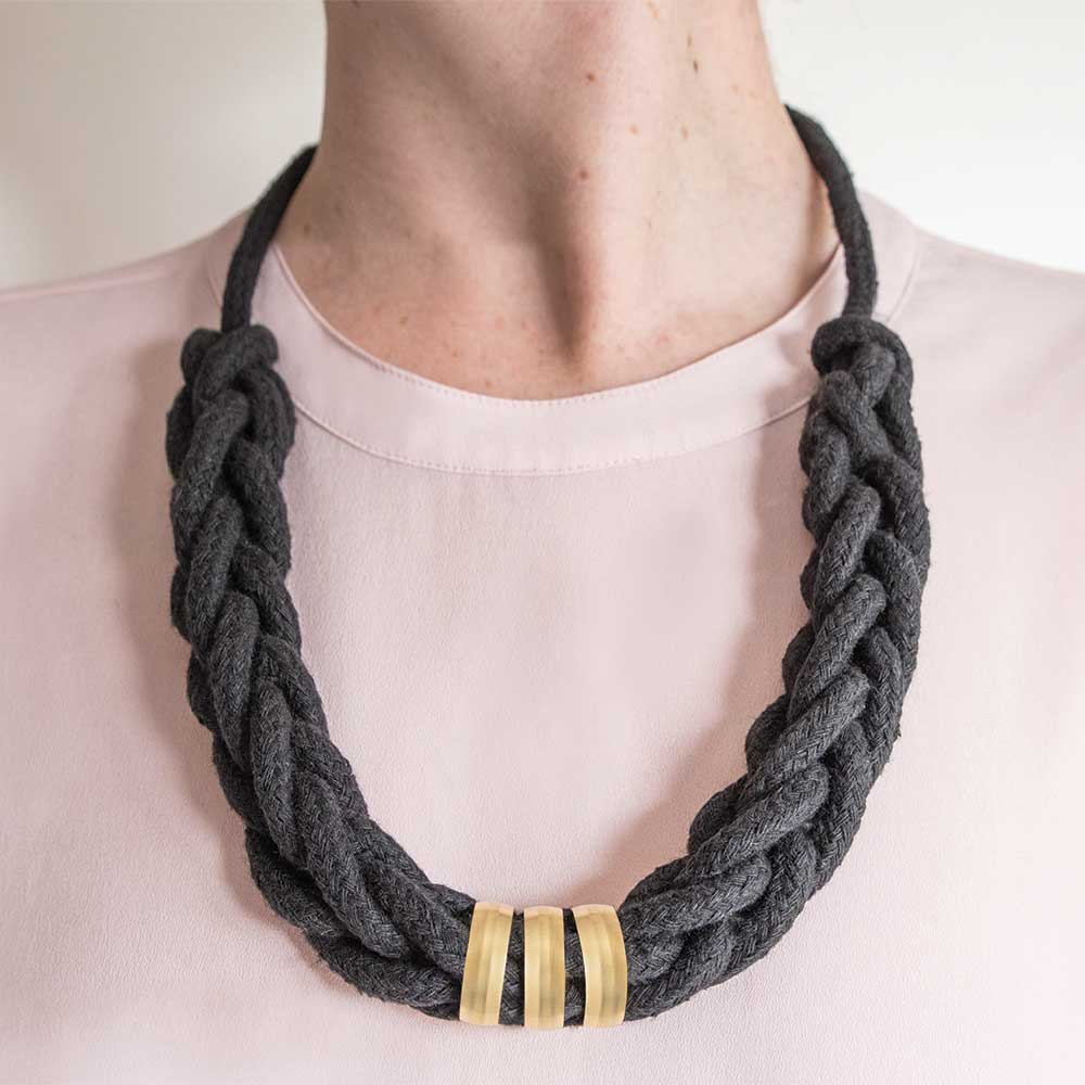 Cotton Rope Necklace Black