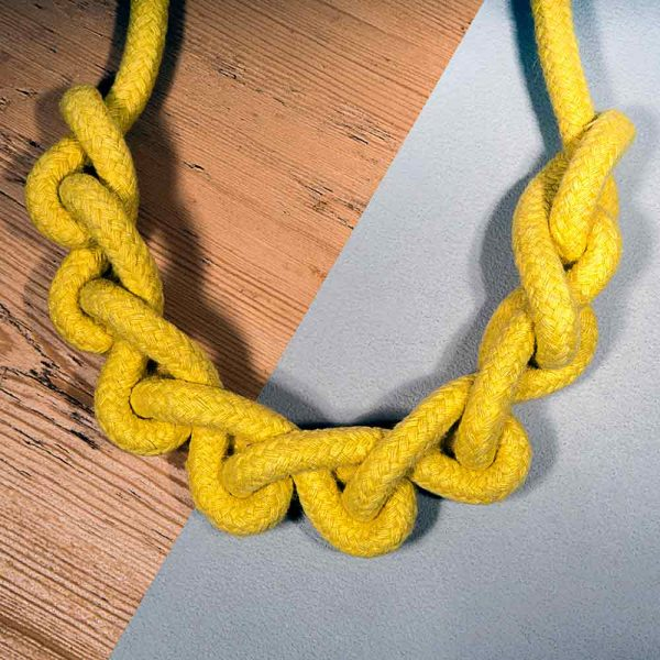Knot necklace handmade in mustard