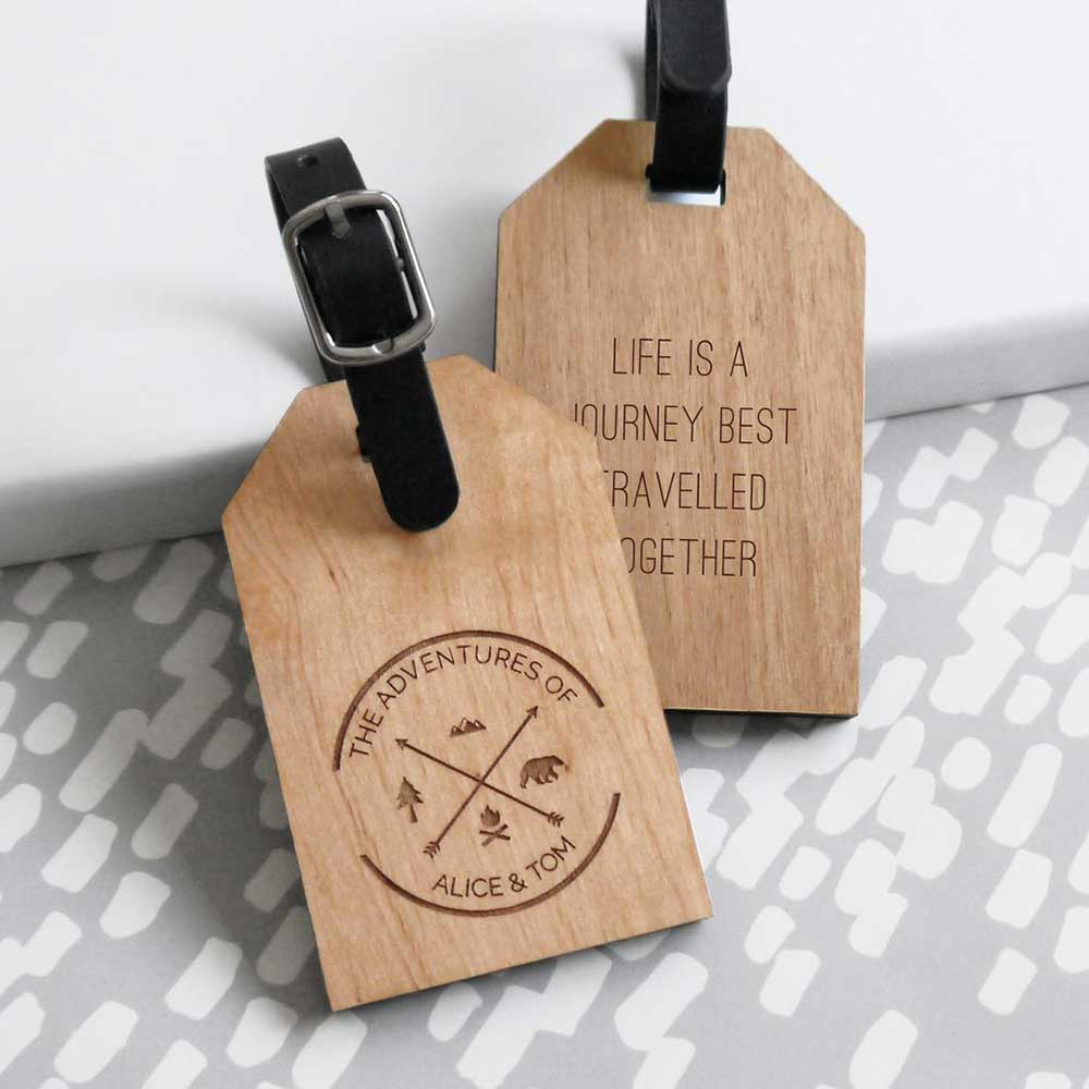 Fifth Anniversary Gift Ideas Wood luggage tags