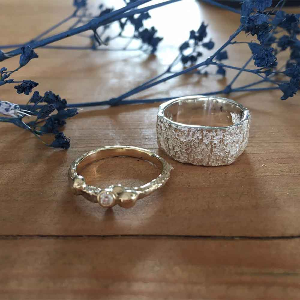 Nature inspired jewellery his and hers rings