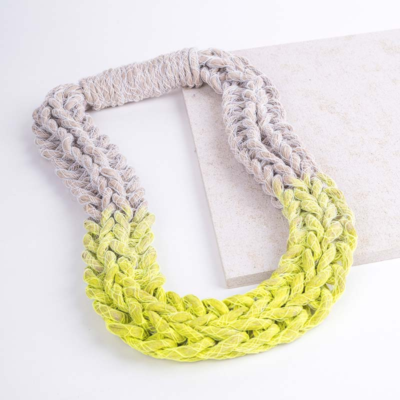 Neon Yellow Woven Jewellery Statement