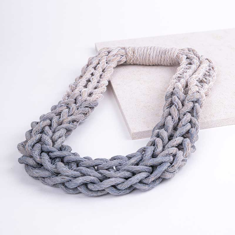 Pastel Grey Woven Jewellery Statement