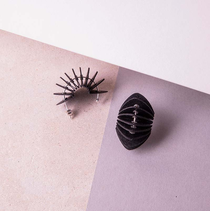 black paper stud earrings