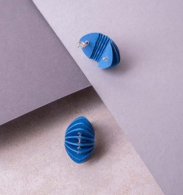 blue paper stud earrings