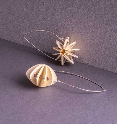 cream paper earrings