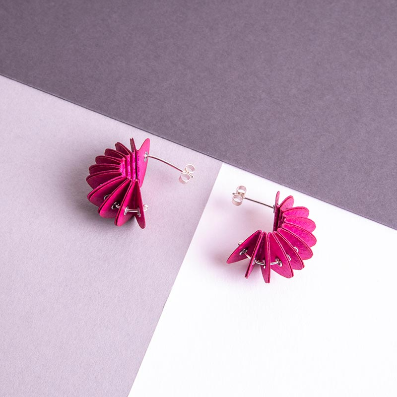 pink paper stud earrings