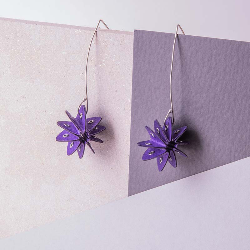 purple paper earrings