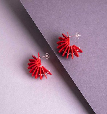 red paper stud earrings
