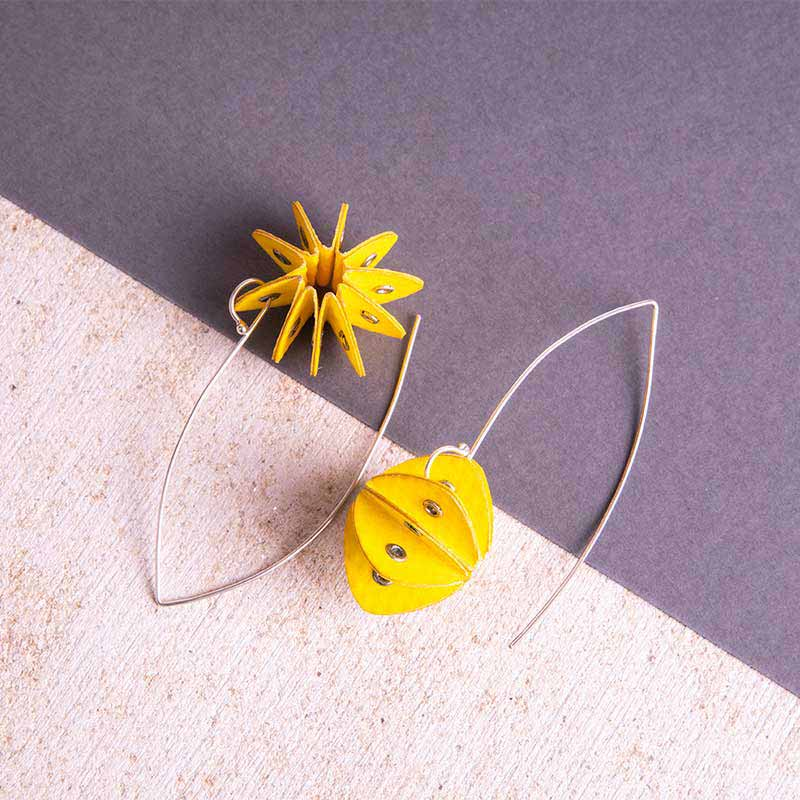 yellow paper earrings