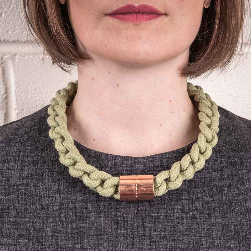 Green Cotton Rope Necklace