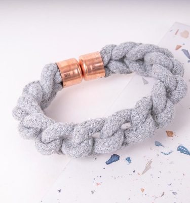 Grey Woven Bracelet With Copper