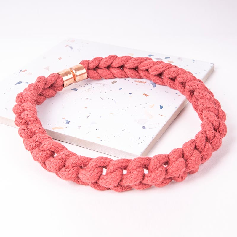 Red Statement Necklace Woven