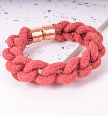 Red Woven Bracelet With Copper