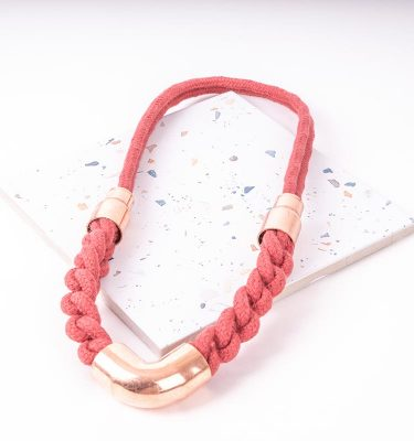 Red Woven Statement Necklace