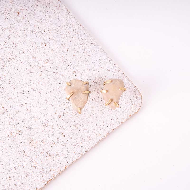 Raw Stone Rock Earrings
