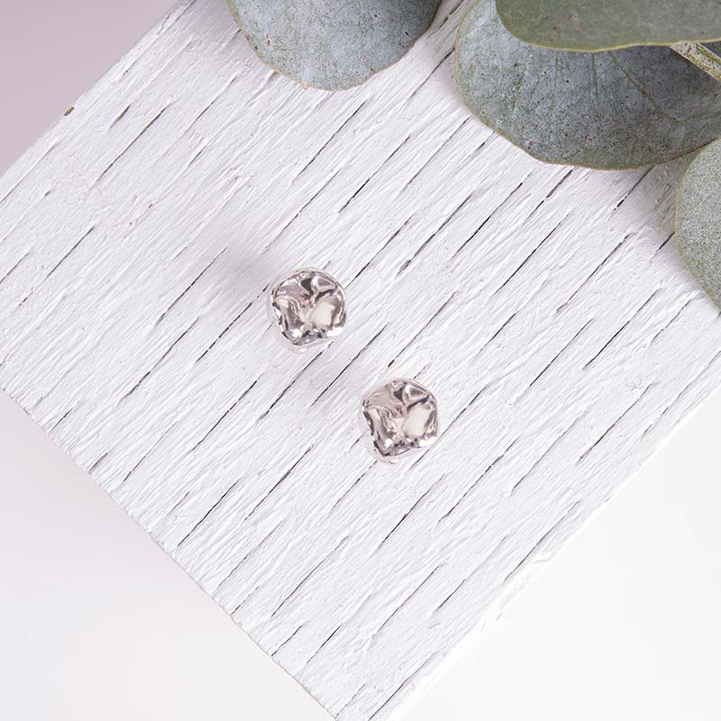 Organic Silver Earrings Textured