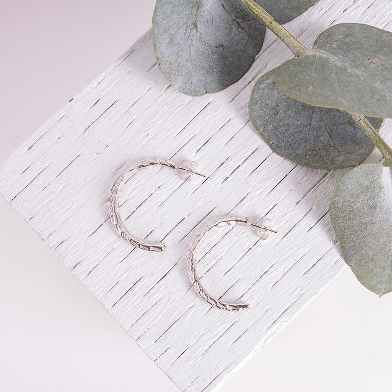 Organic Silver Jewellery Hoop Earrings