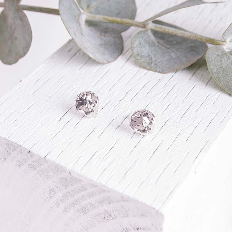 Organic Silver Jewellery Textured Earrings