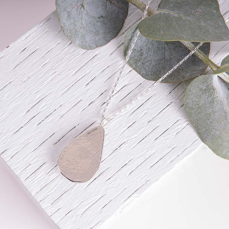 Organic Silver Necklace Droplet