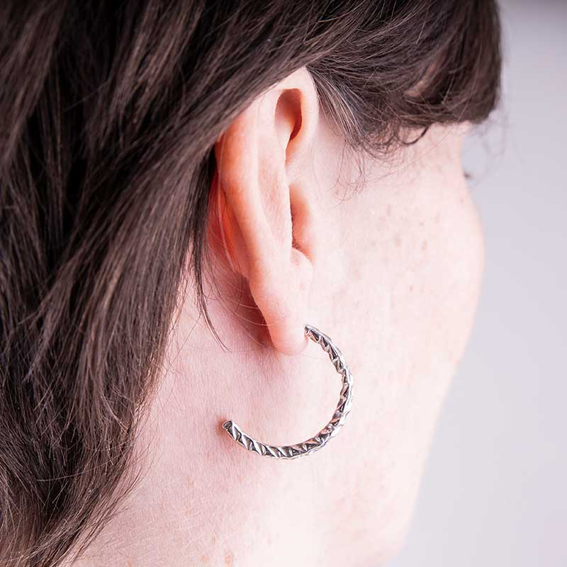 Organic Textured Hoops Silver
